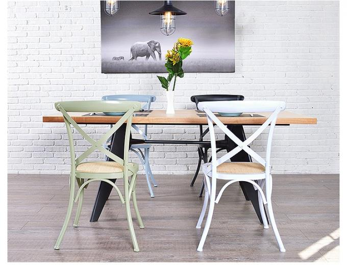 Cross Back Modern Metal Dining Chairs For Restaurant / Coffee Bar