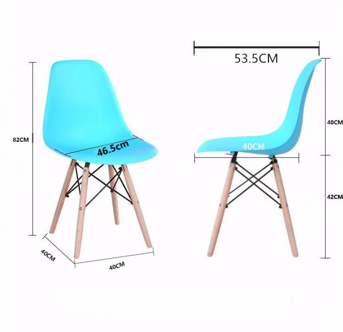 Coloured Wooden Dining Chairs , PP Plastic Dining Chairs Wooden Legs
