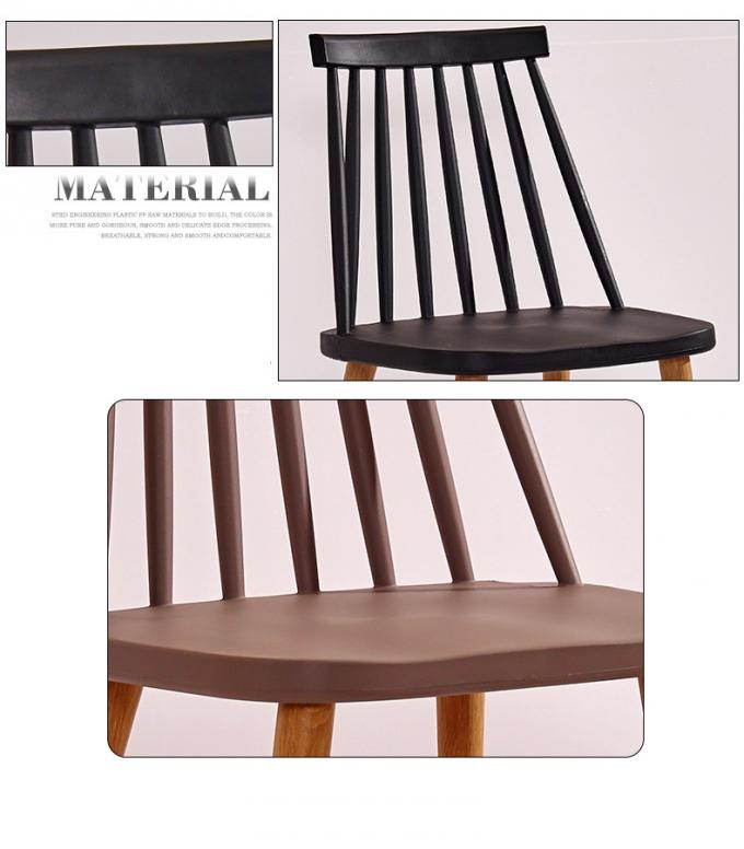 Durable Regal Plastic Chair Anti Slip With Wood Print Transfer Iron Legs