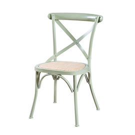 China Cross Back Modern Metal Dining Chairs For Restaurant / Coffee Bar supplier