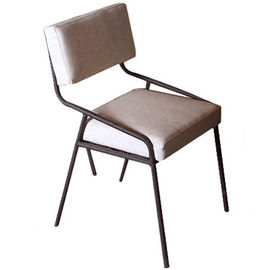 Non Slip Modern Metal Dining Chairs , Leather Dining Chairs With Metal Legs