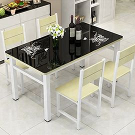 Toughened Glass Top Dining Room Table , Black Glass Dining Table Set