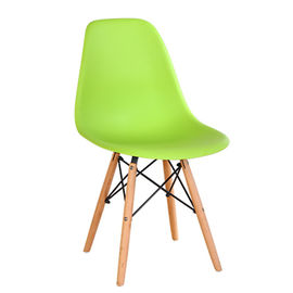 China Coloured Wooden Dining Chairs , PP Plastic Dining Chairs Wooden Legs supplier
