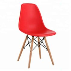Solid Wood Legs Coloured Plastic Dining Chairs For Family / Restaurant