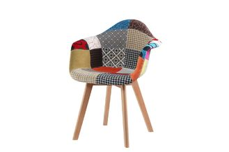 Comfortable Non Slip Patchwork Dining Chairs With Solid Beech Wood Legs