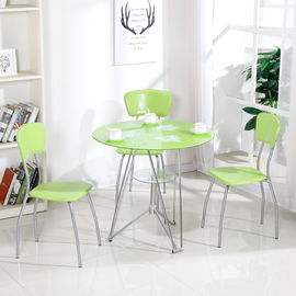 Modern Glass Top Dining Room Table , Colorful Glass Top Dining Table And Chairs