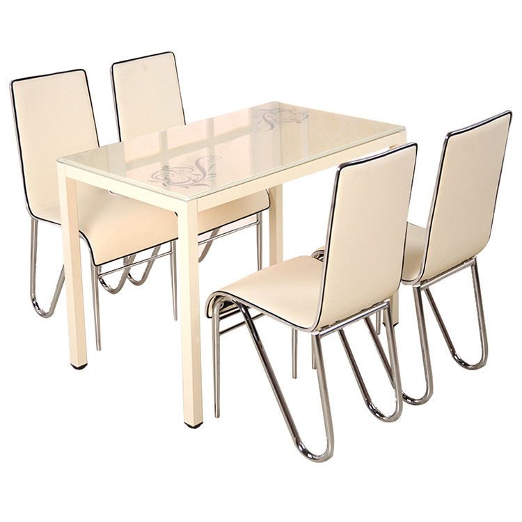 Rectangular Glass Top Dining Table Set 4 Chairs With Stambled Table Foot