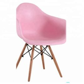 China Pink Plastic Dining Chairs Wooden Legs High Toughness With Anti Slip Mats factory