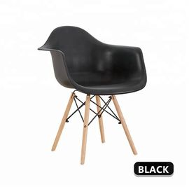 China Durable Officeworks Plastic Chairs With Four Solid Beech Wood Legs factory